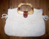 Vintage off-white crochet, leather, and wood purse