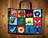 Vintage yarn embroidered purse