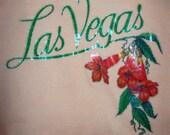 Vintage peach t-shirt with glitter Las Vegas print - small
