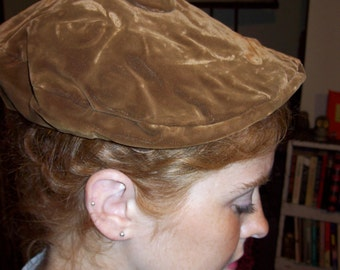 Vintage brown velvet newsboy hat