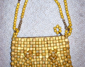 Vintage wood bead purse