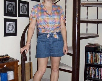 Vintage plaid blouse - medium