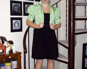 Vintage green ruffled bolero - small/medium