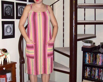 Vintage pink, maroon, orange, yellow, and tan sundress - medium/large