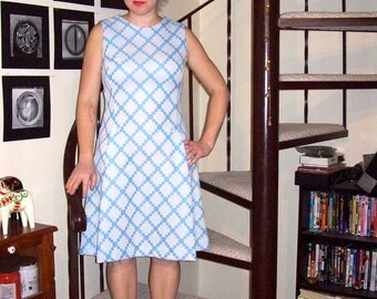 Vintage white and sky blue geometric checkered dress - medium