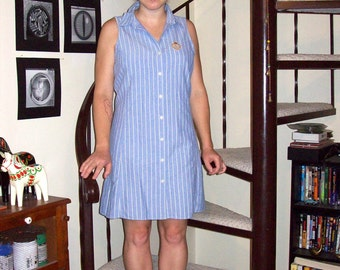 Vintage chambray striped dress - medium/large