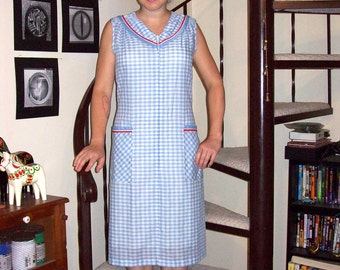 Vintage light blue and white gingham sailor collar dress - large/extra large