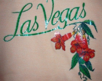 Vintage peach t-shirt with glitter Las Vegas print - small