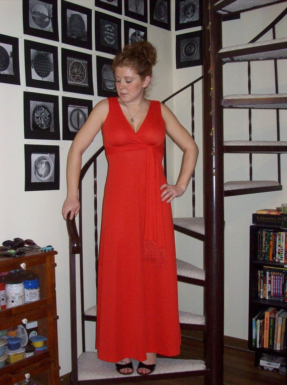 Vintage small red maxi dress