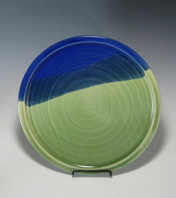 Plate - Centerpiece - Dish - Cheese Plate - Serving - Kitchen - Housewares - Home Decor - Stoneware Pottery - Cobalt Blue - Emerald Green