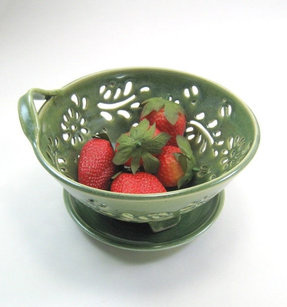 Ceramic Berry Bowl Colander with coaster dish handcarved flowers green