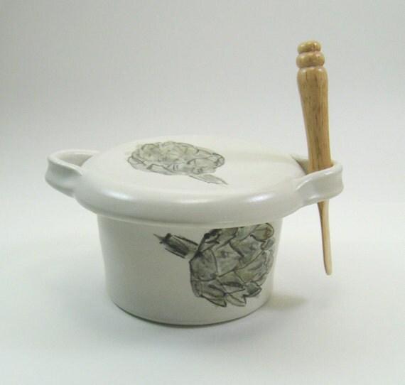 Ceramic French Butter Crock Butter Dish satin white artichoke