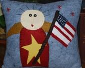 Wool Felt Americana Lady Liberty Patriotic Pillow STCOFG