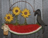 Watermelon Crow and Sunflower Wall Hanging Door Greeter STCOFG