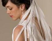 Silk ribbon bridal veil, and Silk Tulle, waterfall wedding veil Style 709