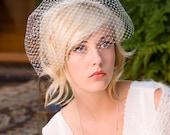 Birdcage veil, blusher veil, wedding veil, - French net cage veil no. 773