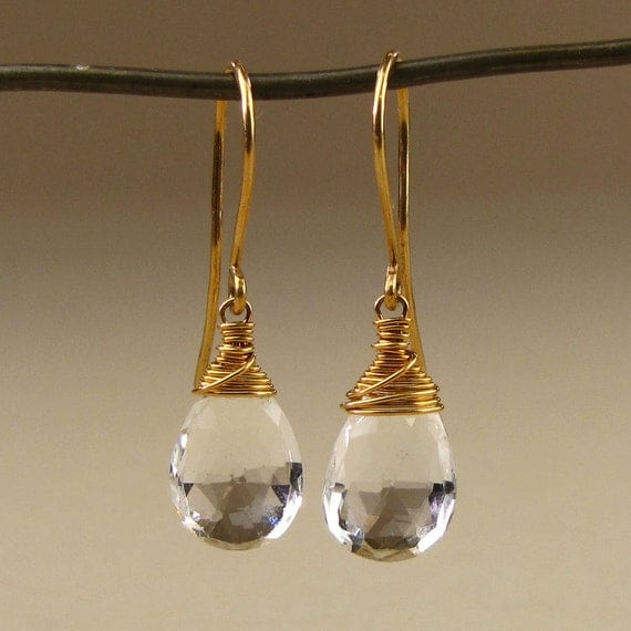 White Topaz Clear Gemstone Earrings