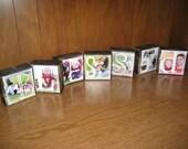 PERSONALIZED Photo Letter Blocks- Set of Seven- BLESSED Grandma SISTERS Grandpa