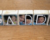 FIRST Father's Day Gift- CUSToM PHOTO BLoCKS- Perfect PeRSONALIZED gift- DADDY- set of 5- Photo Letter Blocks