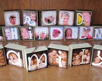 PERSONALIZED Photo Letter Blocks- SPECIAL- Flat Rate Box 1-  up to 24 blocks