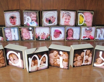 WEDDING GIFTS- Personalized Photo Blocks- set of 16 blocks