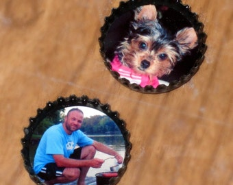 Personalized BOTTLE CAP Photo Magnets- UPCYCLED caps