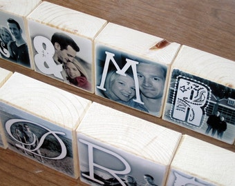 Personalized Photo Blocks- for your wedding- MR. and MRS. reception decoration