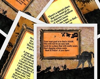 PRINTABLE Halloween Scavenger Hunt-  11 riddles and instructions