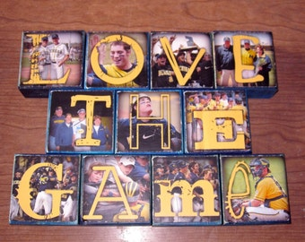 Personalized for the Guys- Photo Letter Blocks- per block price- SPORTS team colors FOOTBALL Baseball BASKETBALL