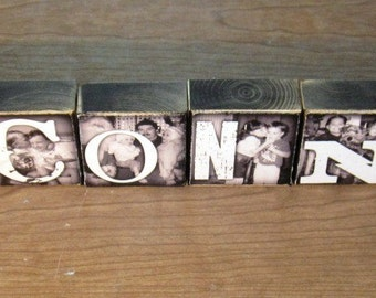 PERSoNALIZED Home Decor- LAST NAME WEDDiNG / ENGAGEMENT GiFT photo letter blocks- per block price