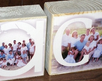 VACATION Personalized Photo Letter Blocks- set of 5- BEACH
