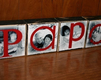 Personalized Gift for Grandparent's Day- Photo Blocks- PAPA set of FOUR letter blocks