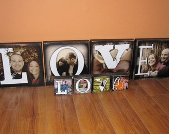 Personalized EXTRA Large Photo Blocks- 9 inch square- set of 4- LOVE