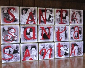 Personalized PHOTO Gift- SANTA- set of 5- Wooden Blocks for CHRISTMAS