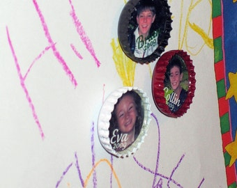 Personalized BoTTLE CaP Photo Magnets- UPCYCLED caps- 3 for 16 Dollars