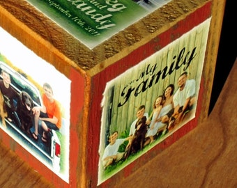 Personalized PHOTO CUBE- recycled barn posts- limited quantity