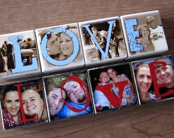 PERSONALIZED GIFT for Christmas- Photo Letter Blocks- set of 4- LOVE