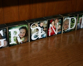 Personalized Photo Letter Blocks- set of 7 blocks- GRANDMA Grandpa GRAMMIE Blessed FRIENDS