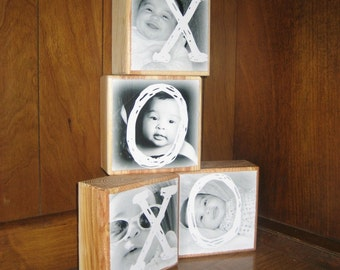 HUGS and KiSSES for Grandpa on Grandparent's Day- Personalized Gift- Photo Letter Blocks- XOXO- set of four