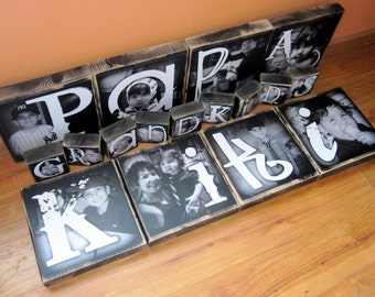 Personalized gift for PAPA Nana KIKI Gram- EXTRA Large Photo Blocks- 9 inch square- set of 4 Letter Blocks