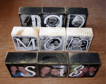 MOM DAD SIS Personalized gift- Photo Letter Blocks- set of 3