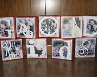 Christmas gift with photos- Personalized Photo Blocks- per block price- GRANDKIDS Sisters MEMORIES Family BLESSED Auntie