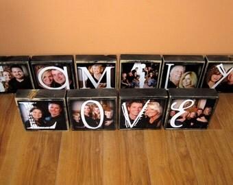 Personalized LARGER Photo Blocks- set of 7 Letter Blocks