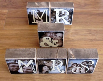 Personalized Photo Blocks- for your wedding- MR. and MRS. Letter Blocks for reception decoration- set of 6