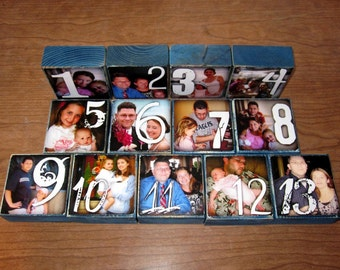 Personalized Photo Blocks- TABLE NUMBERS for your wedding- per block price