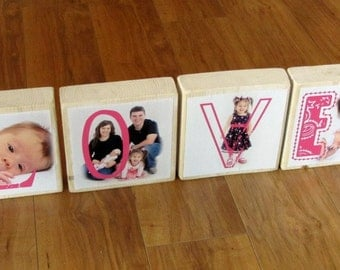 Personalized Photo Blocks instead of a card- set of 4 LaRGE Letter Blocks- custom made with Love