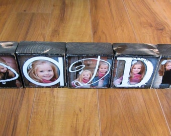 PERSONALIZED Gift- DADDY- set of 5 Letter Blocks- Photo Blocks