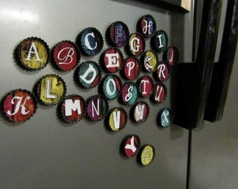 Alphabet BOTTLE Cap Magnets- UPCYCLED caps- set of 26 ABC's