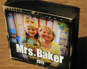 Personalized TEACHER Gift- Larger Photo Blocks- GRADUATIoN thanks coach TEACHER GIFT friends