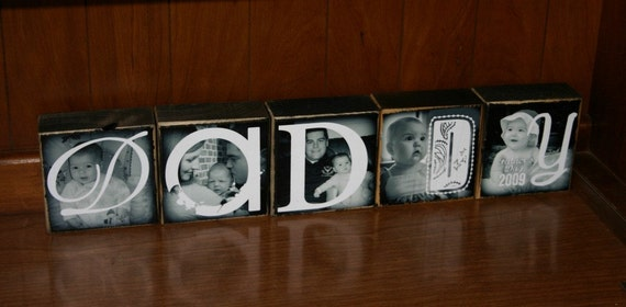 PERSONALIZED Gift- DADDY- set of 5- Photo Blocks